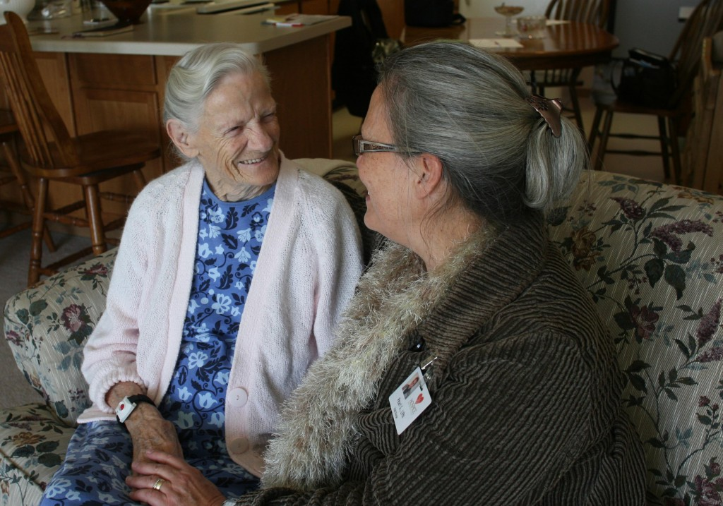 Marjorie with Pearl, one of her hospice visit nurses.