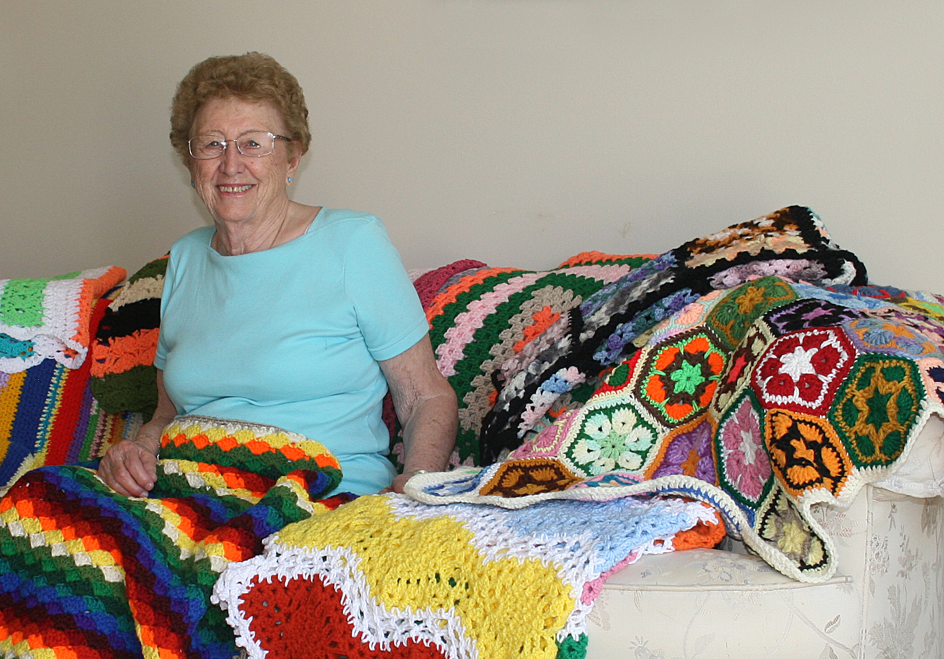 Joan with quilts