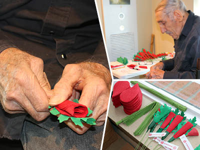 Leo Hecker making poppies.