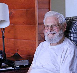 Hospice of the Red River Valley patient Bob Becker enjoys a quiet afternoon at home.