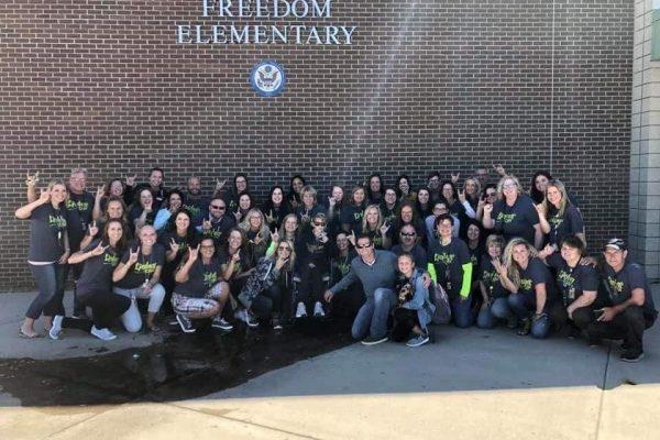 Solberg family at Freedom Elementary School