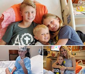 Landon Solberg with siblings