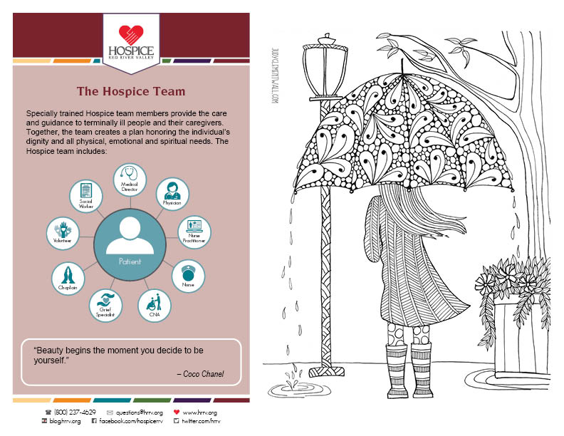 coloring sheet of person holding an umbrella