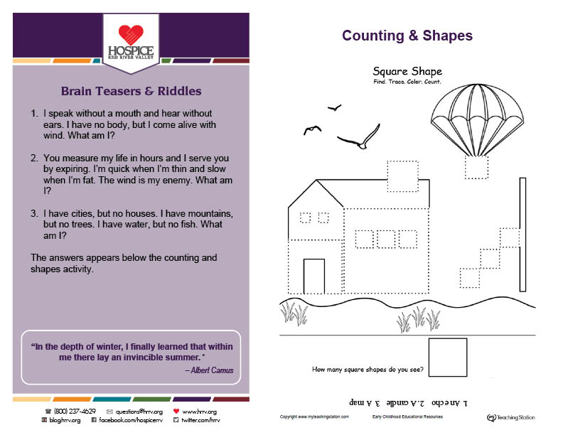 Counting & Shapes printable activity worksheet